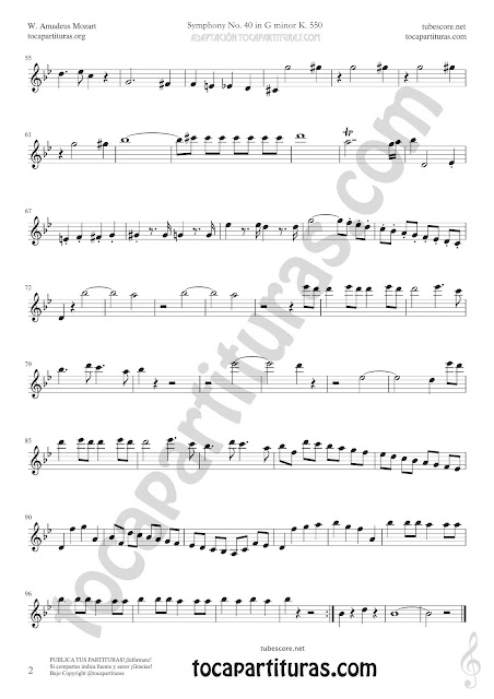 Hoja 2 Violín Partitura de Sinfonía Nº 40 Sheet Music for Violin Music Scores PDF y MIDI aquí  Vídeo