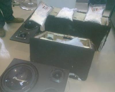 cocaine inside loud speakers