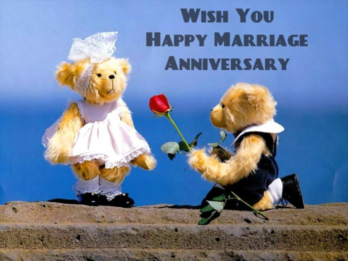 Cute Wedding Anniversary Wishes With Teddy Bear