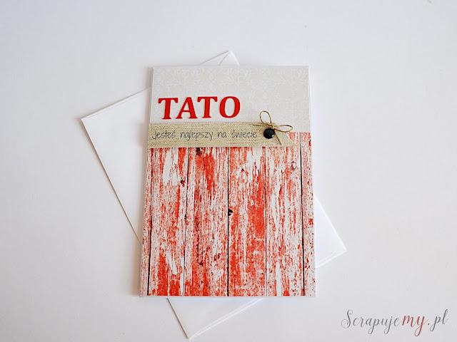 kartka dla taty, biało czerwona kartka, minimalistyczna kartka dla taty, kartka dla ojca, kartka clean&simple, męska kartka