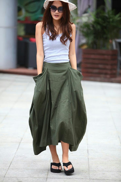 Maxi skirt long pocket