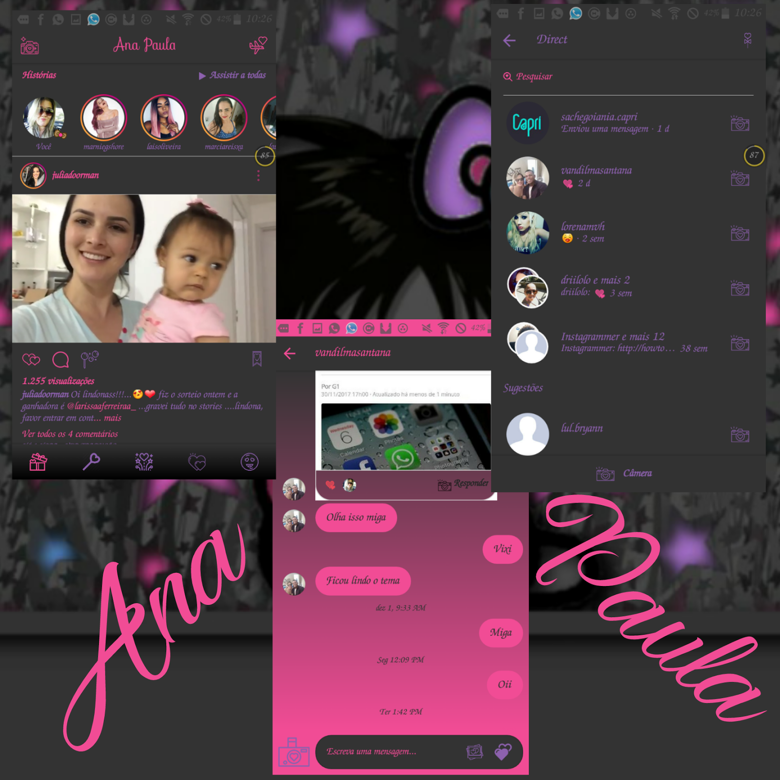 Pink Black Theme For GBInstagram By Ana Paula | Instagram Themes
