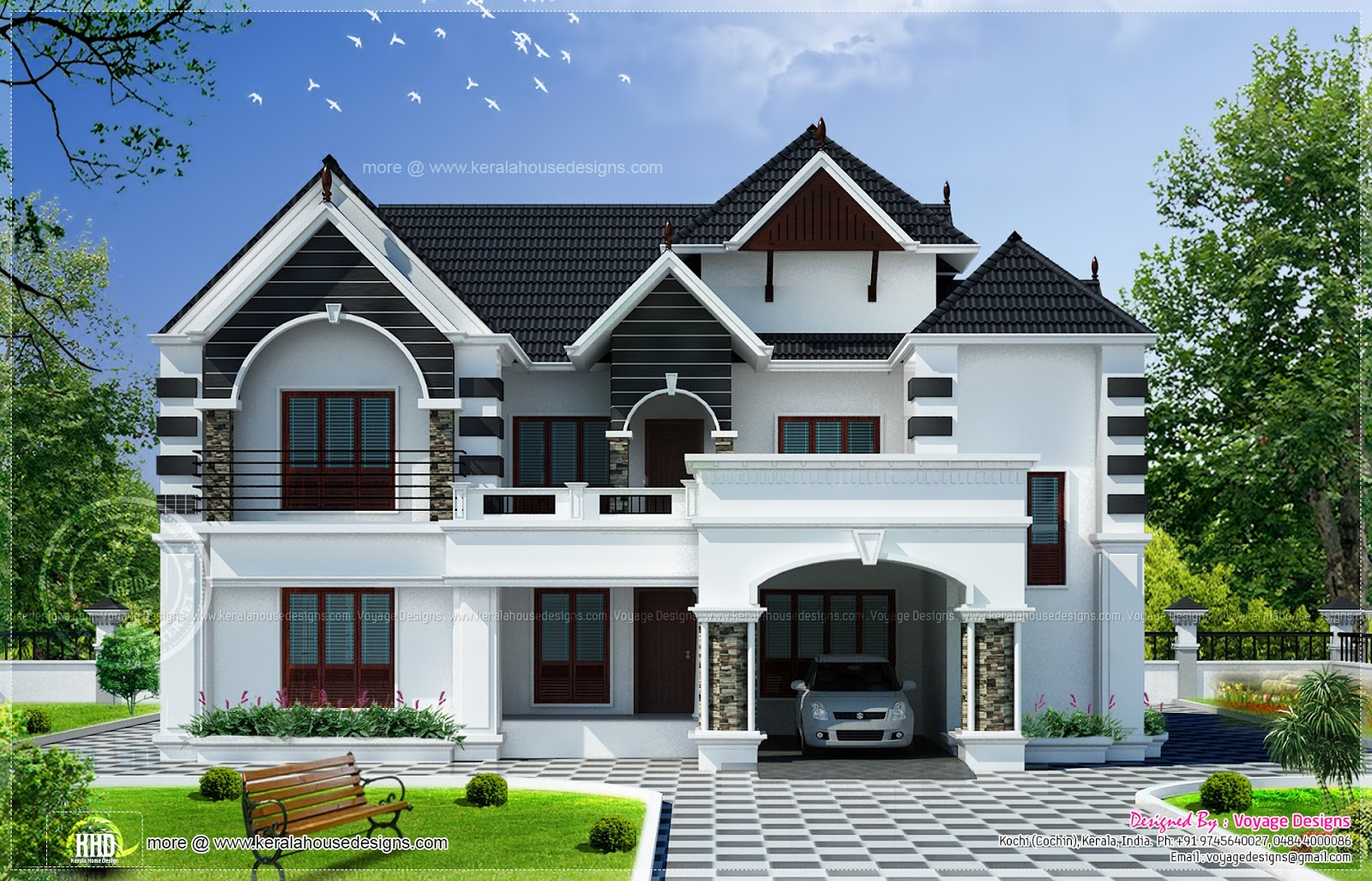 4 bedroom colonial style house kerala home design and for Indian small house design 2 bedroom