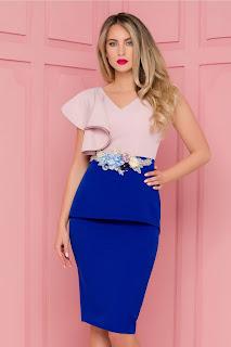 Rochie de ocazie MBG rose-albastru cu volan pe umar si broderie in talie