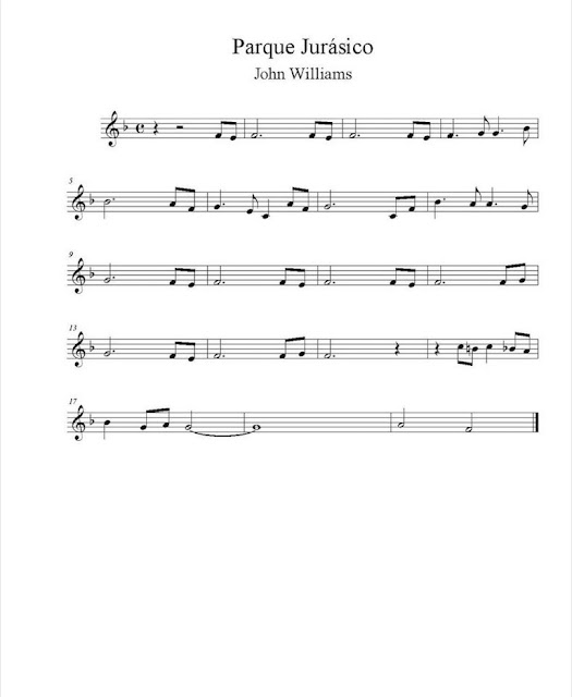 Banda Sonora - Parque Jurásico (Jurassic Park) partitura