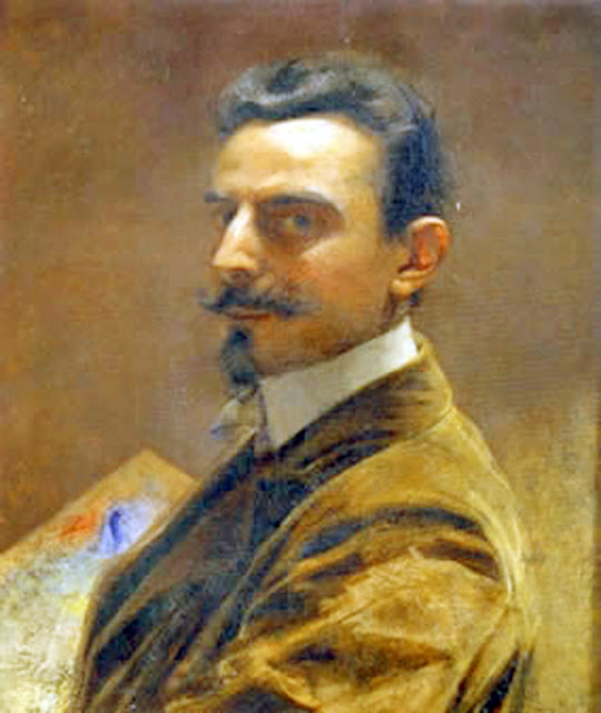 Giuseppe Augusto Levis,  Self Portrait, Portraits of Painters, Fine arts, Giuseppe Augusto, Portraits of painters blog, Paintings of Giuseppe Augusto, Painter Giuseppe Augusto