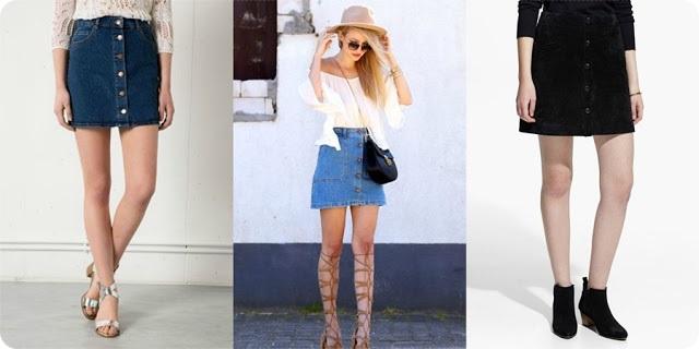 como usar saia jeans de botão na frente