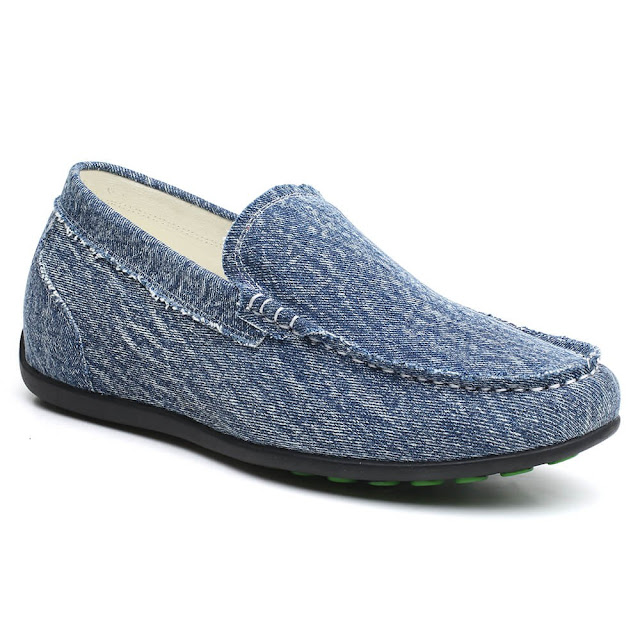 Height Increase Shoes Mens Hidden Platform Shoes Blue Canvas Slip On Shoes 6 CM