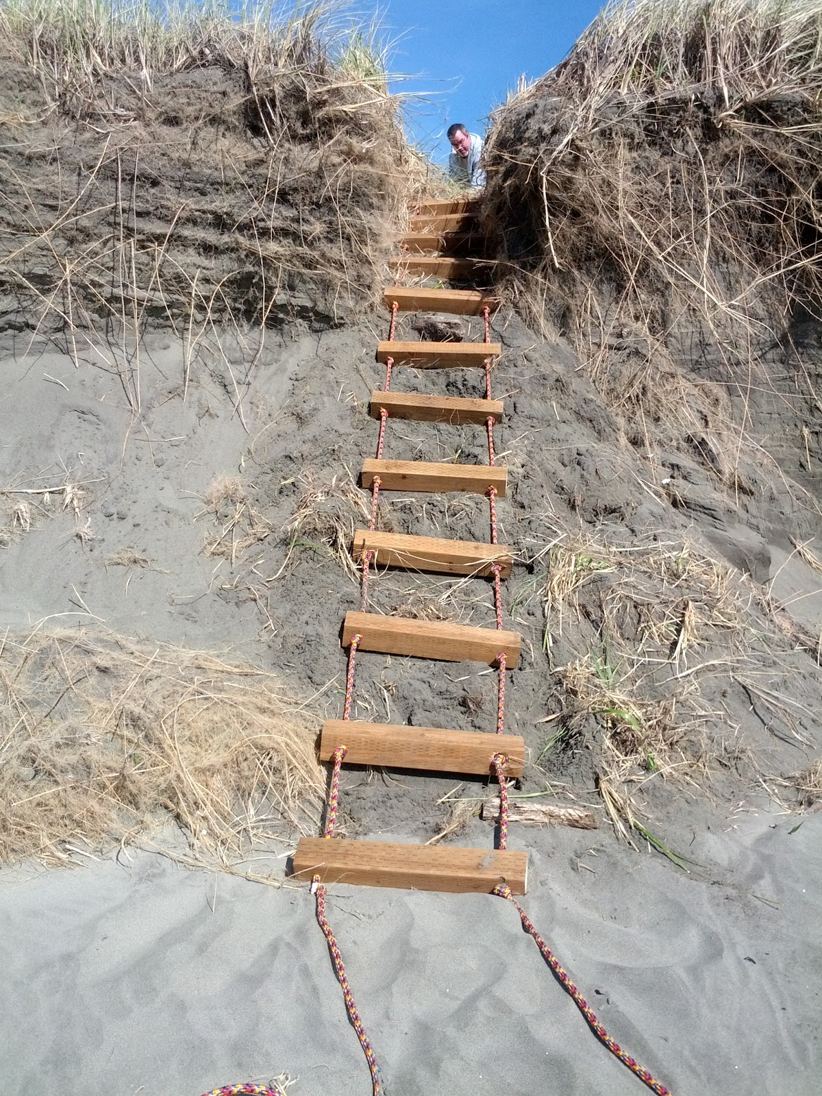 The Ladder Was Then Staked Into Place At Our Beach Access.