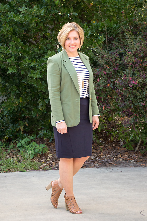 navy pencil skirt with spring booties