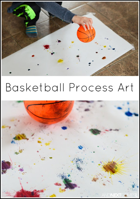 March Madness inspired basketball process art for kids from And Next Comes L