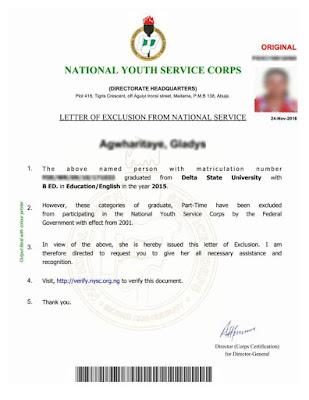 Image result for noun exemption letter