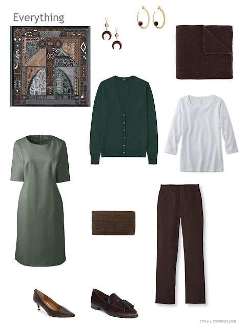 a 4-piece capsule wardrobe based on brown and green