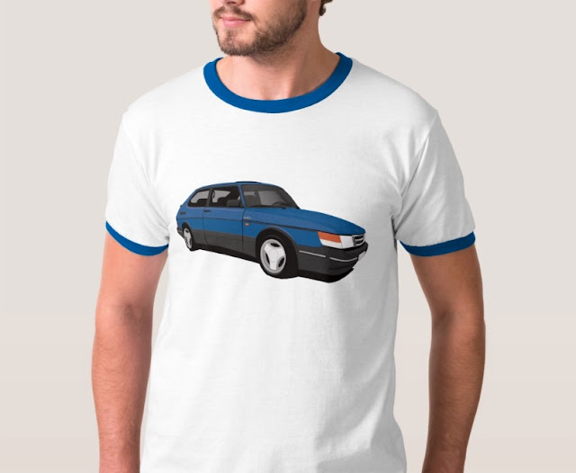 Saab 900 Turbo 16  Aero t-shirt blue illustration