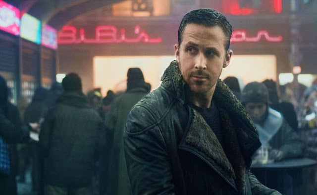 Ryan Gosling as K aka Joe in Blade Runner 2049, Directed by Denis Villeneuve, bar