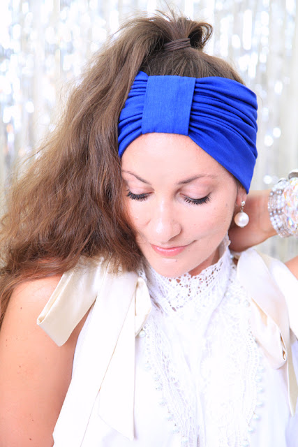 Turban Headband in Royal Blue Mademoiselle Mermaid