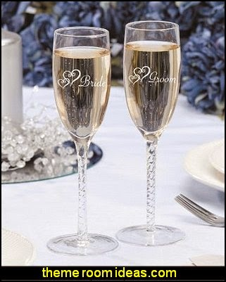 Bride Groom Twisted Champagne Glasses