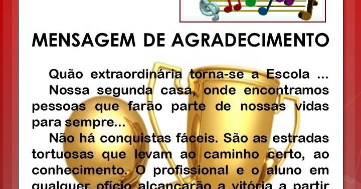 E.E.ANTONIO LUCENA BITTENCOURT: MENSAGEM DE AGRADECIMENTO