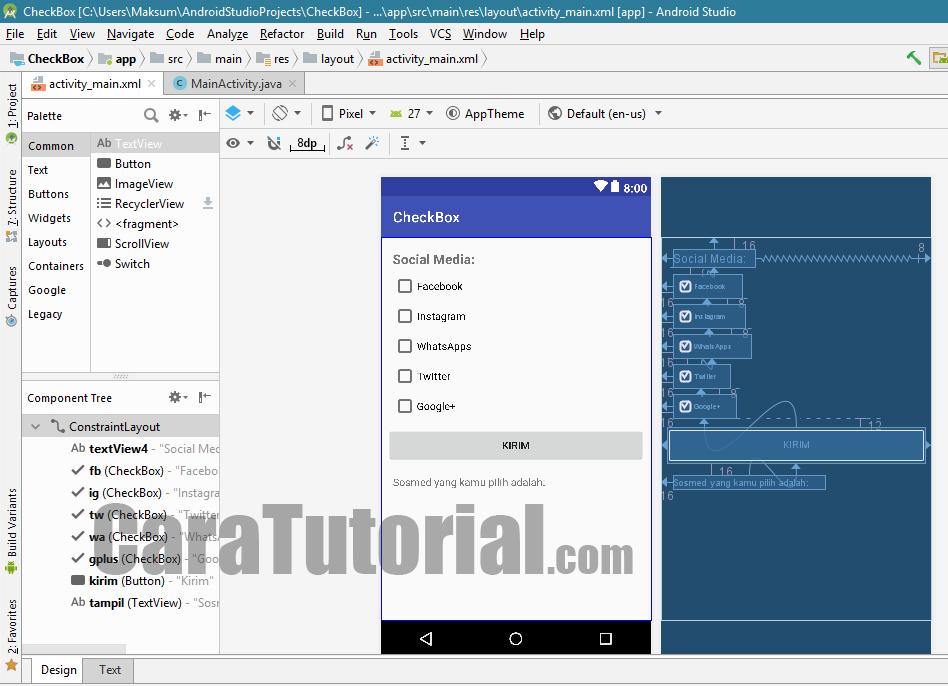 tutorial checkbox android studio example caratutorial.com