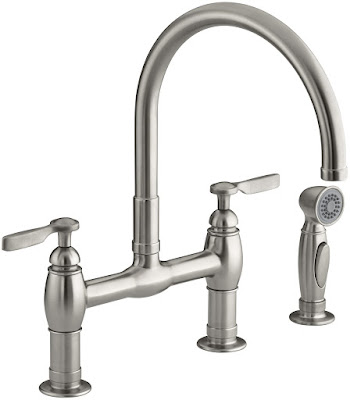 Bridge Kitchen Faucet in Vibrant Stainless Steel #bridgefaucet #parq