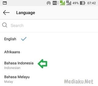 Mengubah Bahasa Indonesia Di Instagram