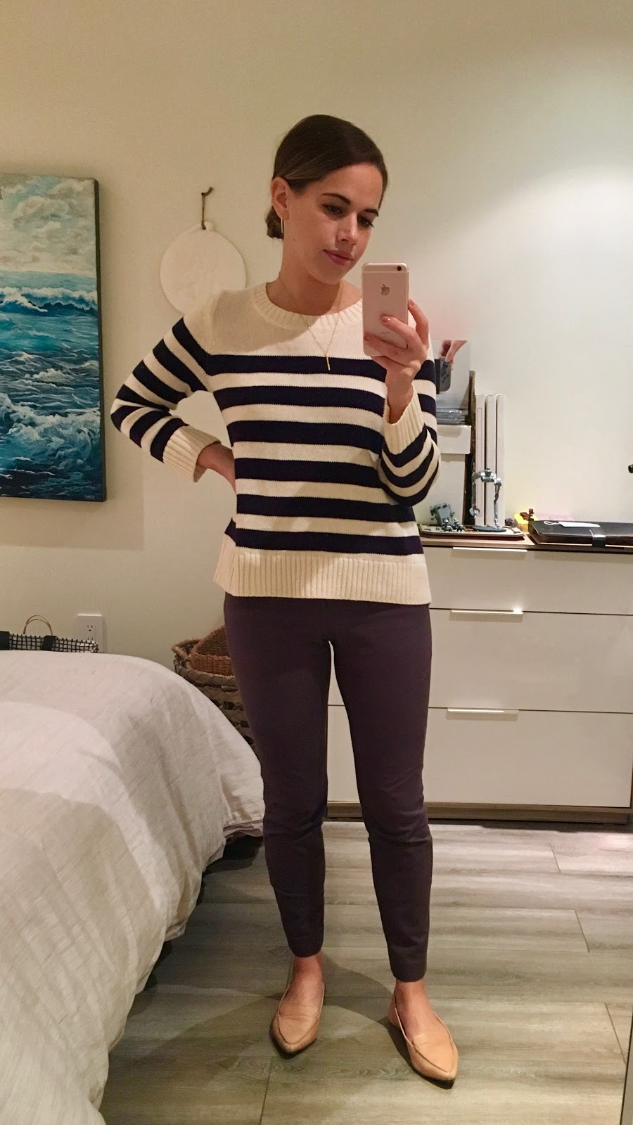 Jules in Flats - Striped Sweater with Grey Ankle Pants and Nude Flats (Business Casual Fall Workwear on a Budget)