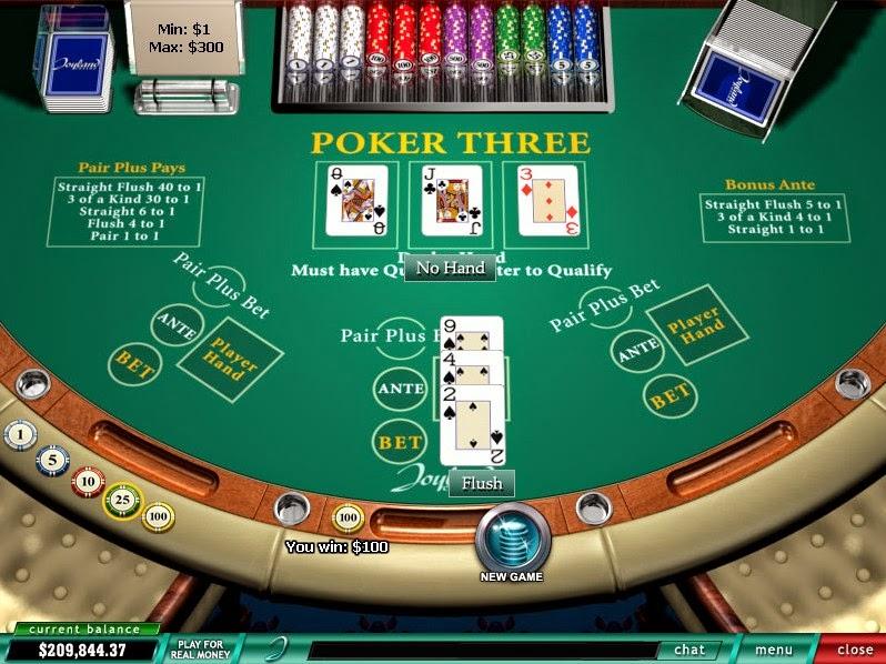 Joyland Casino Poker Three Screen
