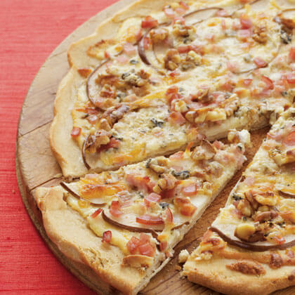 White Pizza With Bacon, Blue Cheese, and Honey