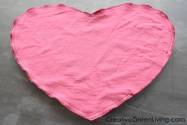 How to make a heart shaped pillow from an old t-shirt