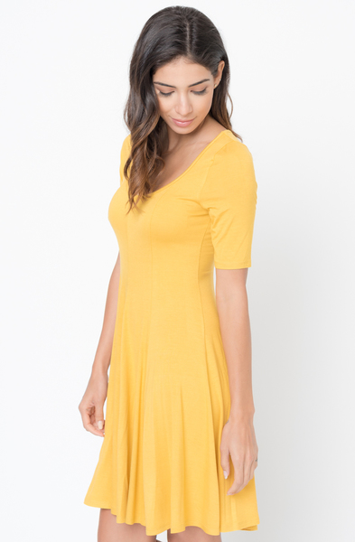 Buy Now mustard Paneled Flared Dress Online $34 -@caralase.com