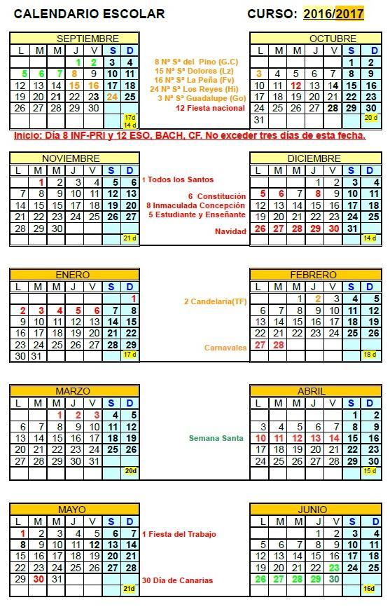 aquellos interesados se implementa la previsión de calendario escolar ...