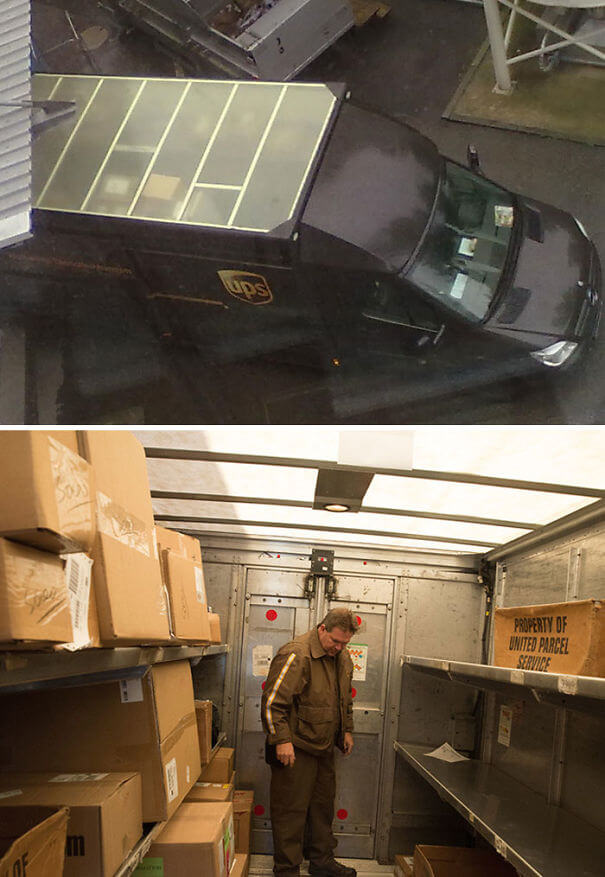 20 Brilliant Ideas That Should Become Reality Everywhere - The Roofs Of UPS Trucks Aren't Brown. They Are Translucent, So That The Inside Of The Truck Does Not Need To Be Lit During The Day