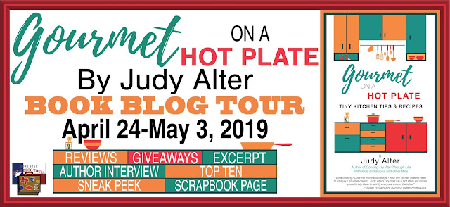 Gourmet on a Hot Plate book blog tour promotion banner