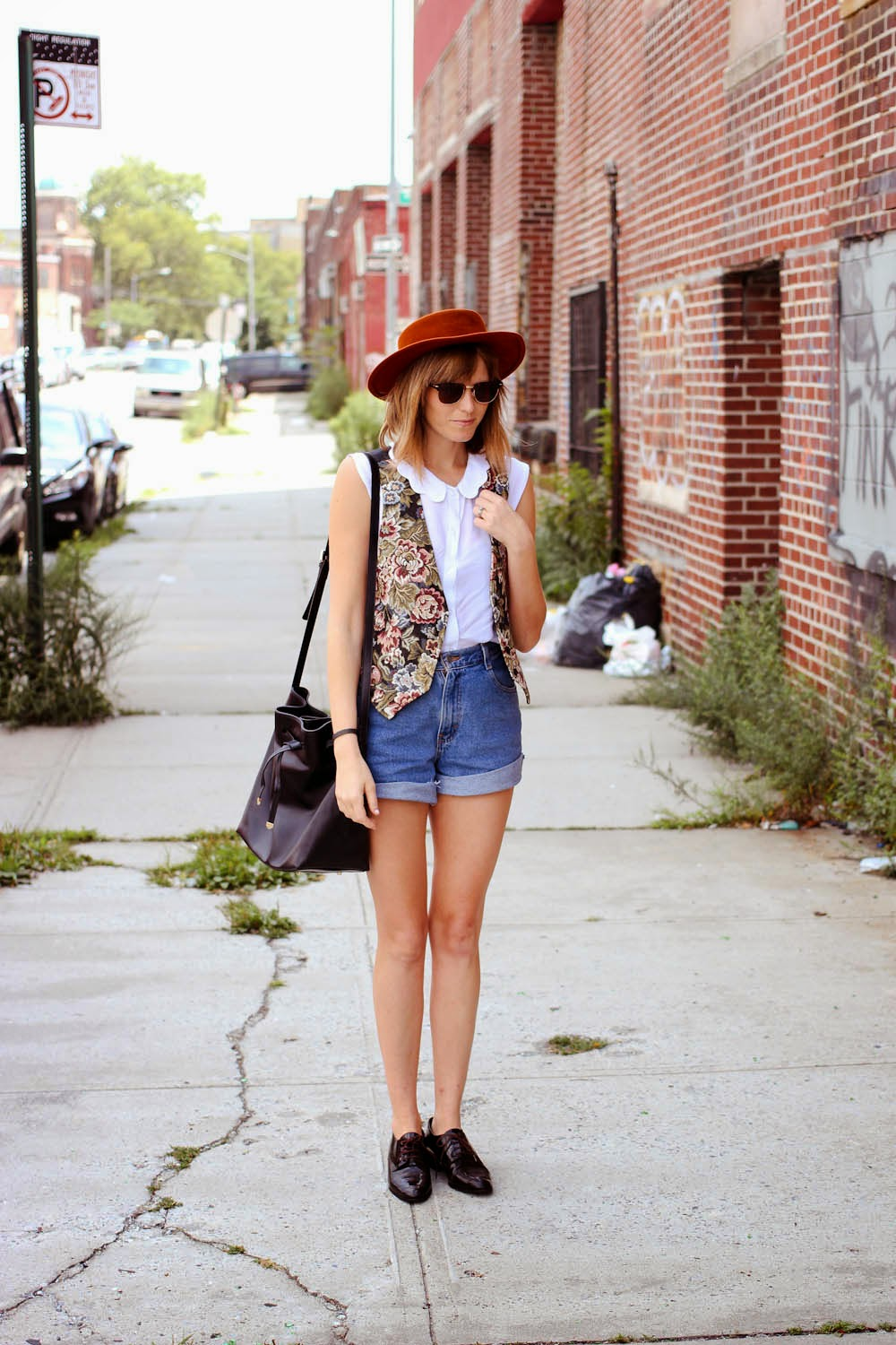 brooklyn blogger, vintage floral vest, wessley NYC bag