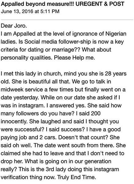"""Some ladies now use Instagram followers to """"rate"""" suitors?"""