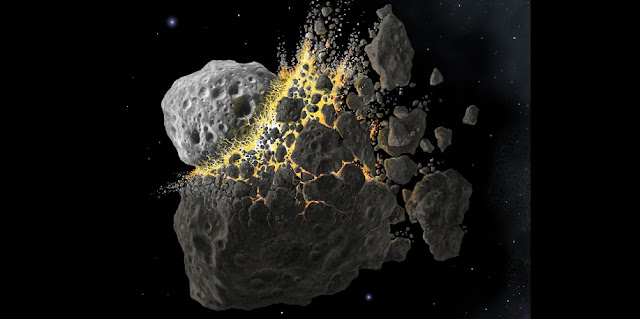This is an illustration of a large asteroid splintering. Credit: Don Davis