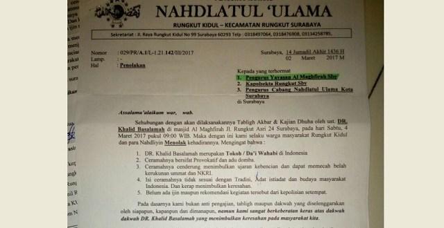 Warga Surabaya Tolak Penceramah Wahabi Khalid Basalamah