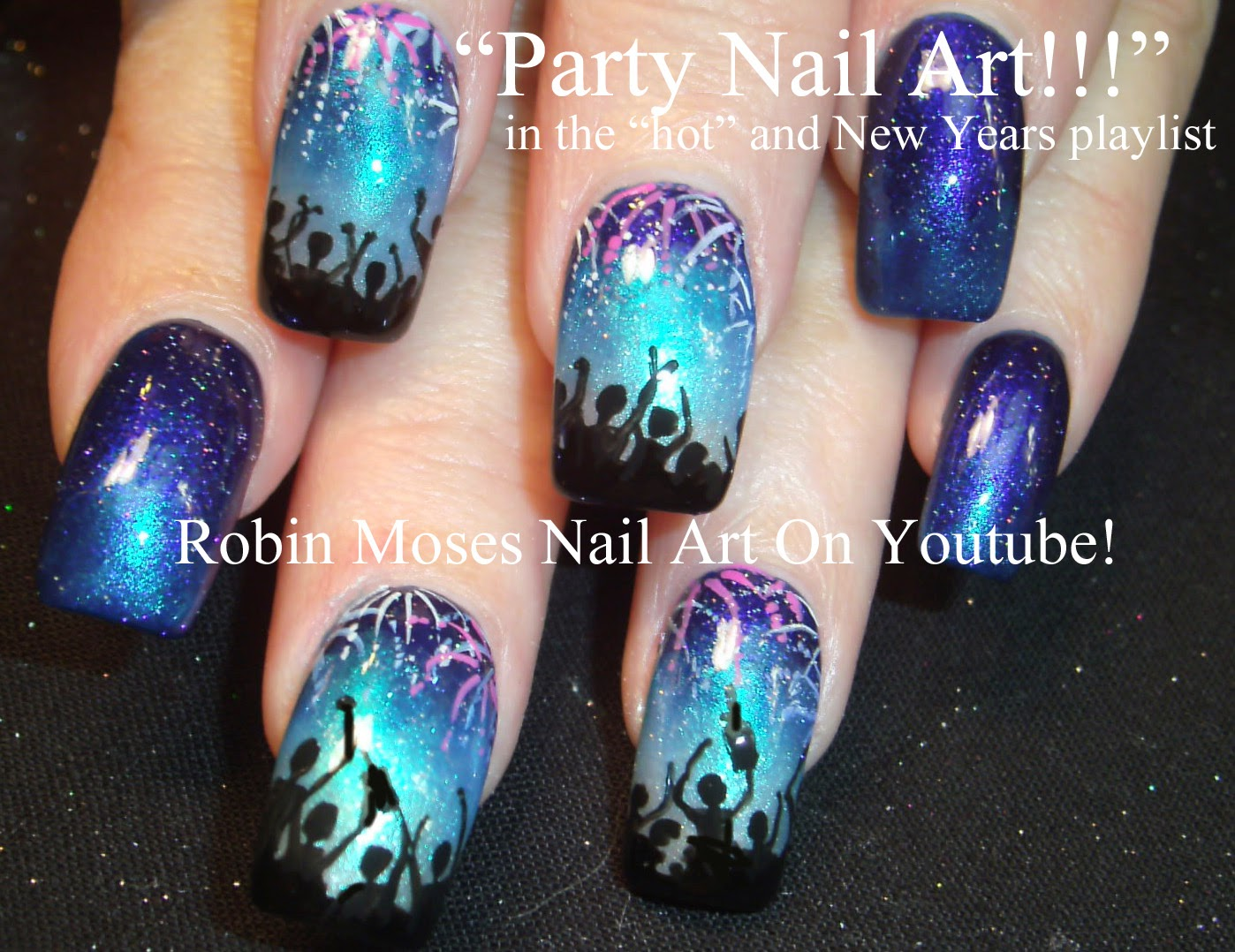 Nail Art By Robin Moses New Years Eve Nail Art 2014 Nail Art