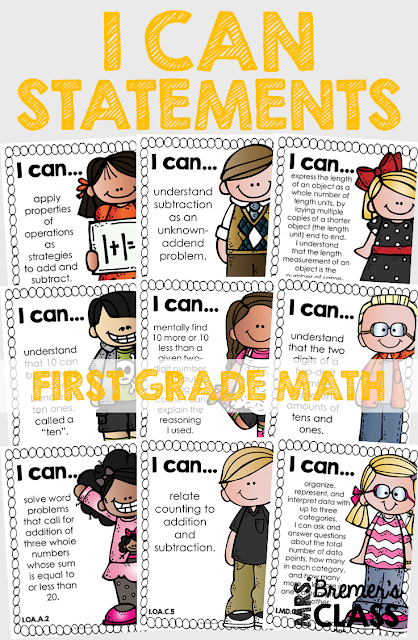 These First Grade 'I Can' statement charts are perfect to display on an objective board or a focus board! The charts will provide your students with visual reminders about what skills to work on, and keep you, as the teacher, accountable and on track with the learning focus. This pack includes charts for all of the First Grade Common Core Math Standards! #commoncore #icanstatements #firstgrade #icancharts #bulletinboards #classcharts #backtoschool #1stgrademath #firstgrademath