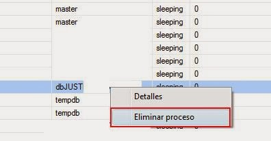 eliminar un proceso de base de datos abierto