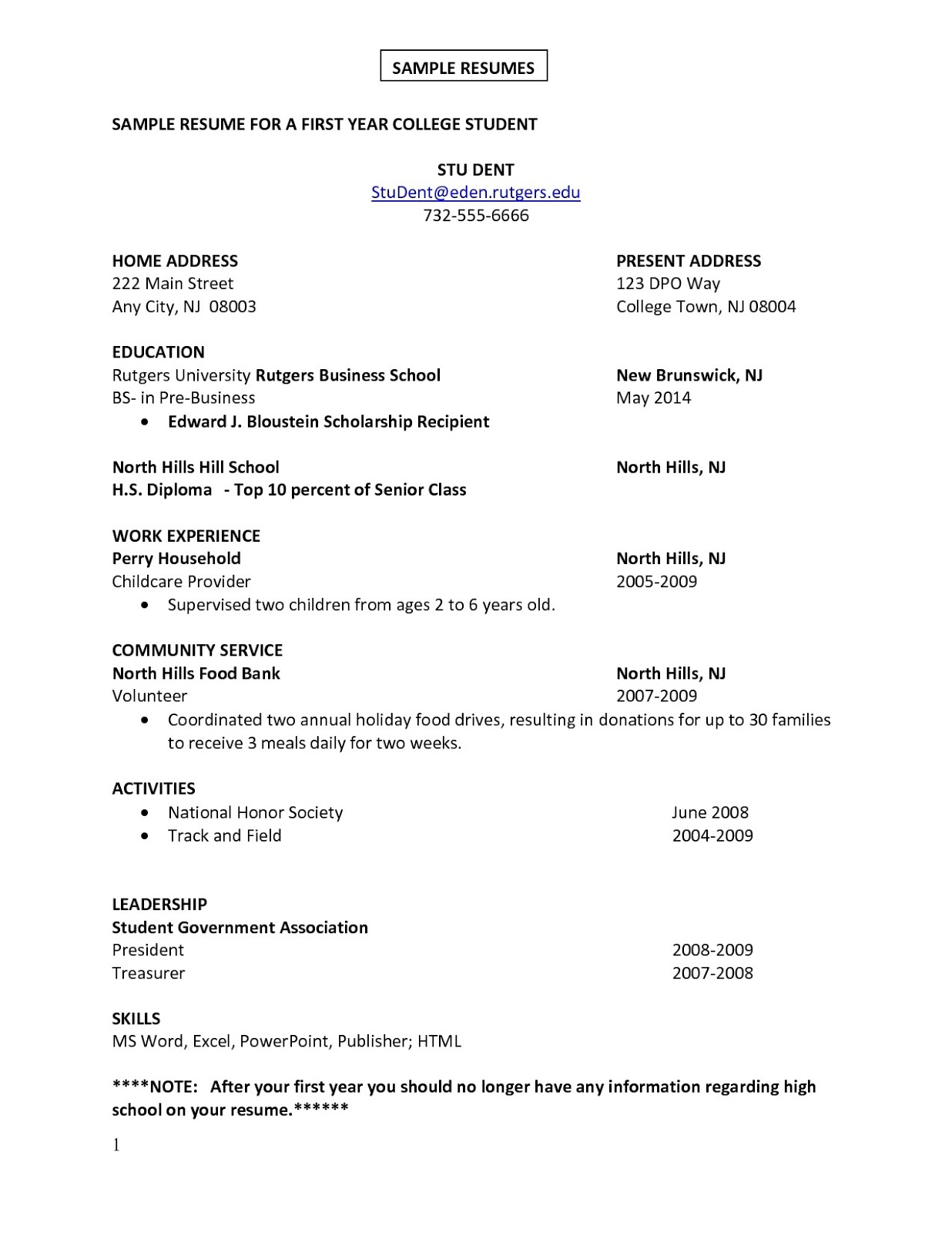 One Job Resume Template
