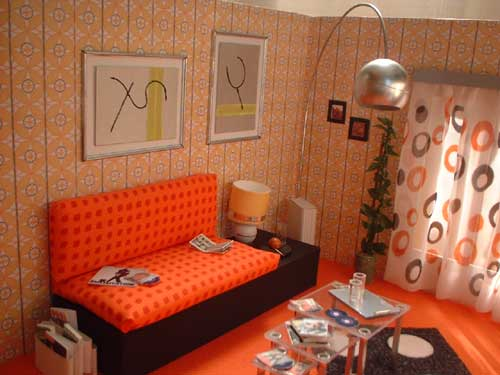10 salas en color naranja colores en casa for Decoracion para pared naranja