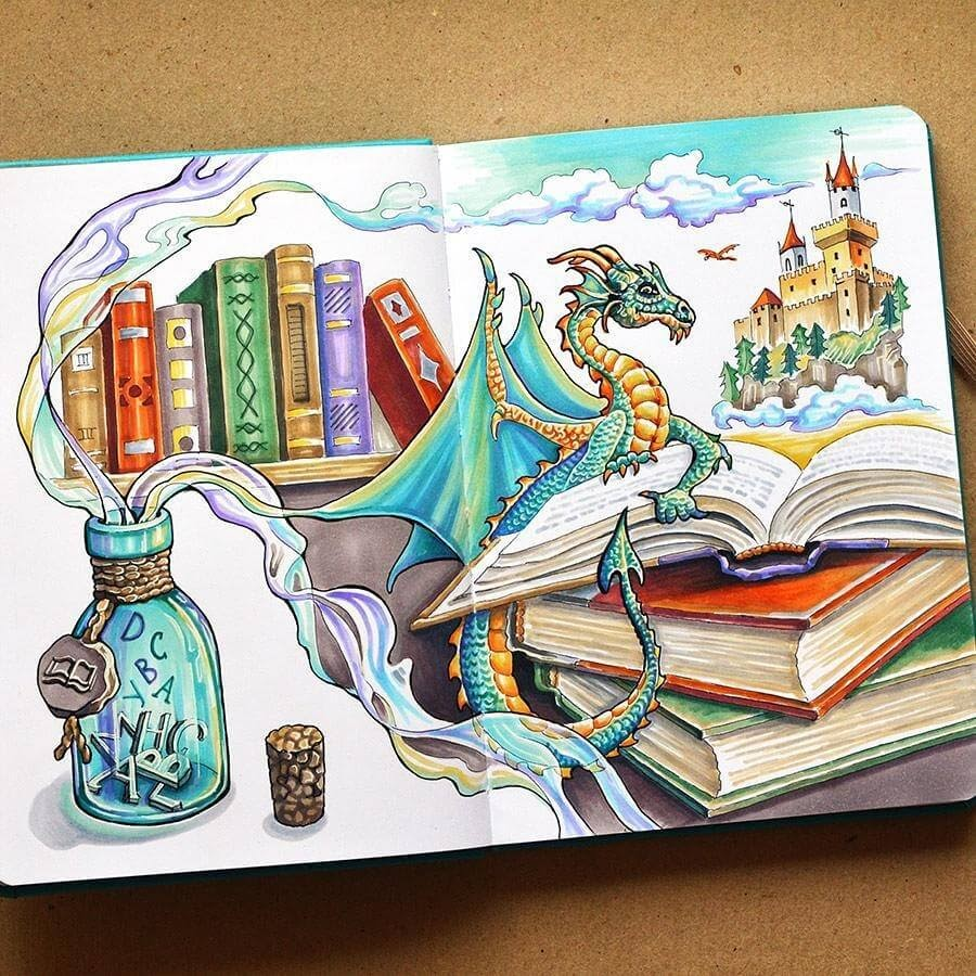 11-Books-Anna-Cheberiak-Travel-Journal-Countries-Plus-Fantasy-Drawings-www-designstack-co