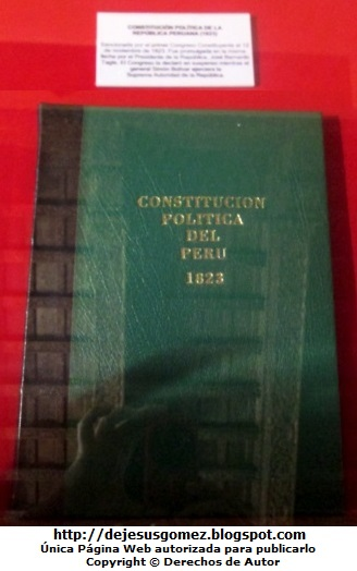 Imagen de la Constitución política del Perú - 1823   (Contitución tomada en el Museo de la Inquisición por Jesus Gómez)