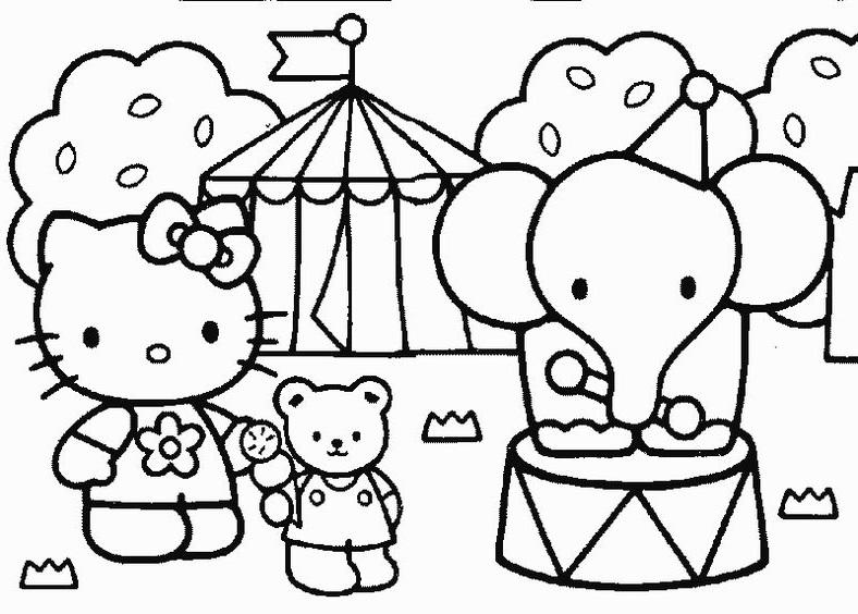 Tranh tô màu mèo hello kitty và bạn voi