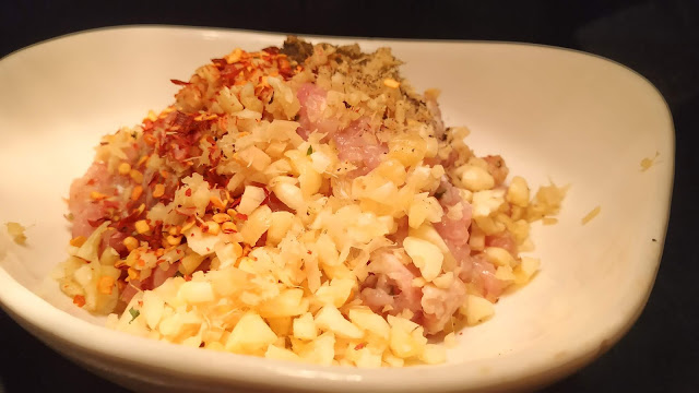 Chicken mince mixed with chopped Garlic chilly flakes food recipe