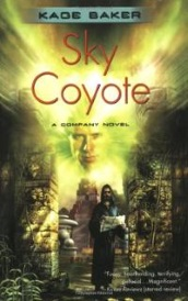 Cover of Sky Coyote, featuring a brown-skinned, bearded man dressed in a robe. He holds a book and stands between two carved stone pillars. Above him hovers a clear, golden face.