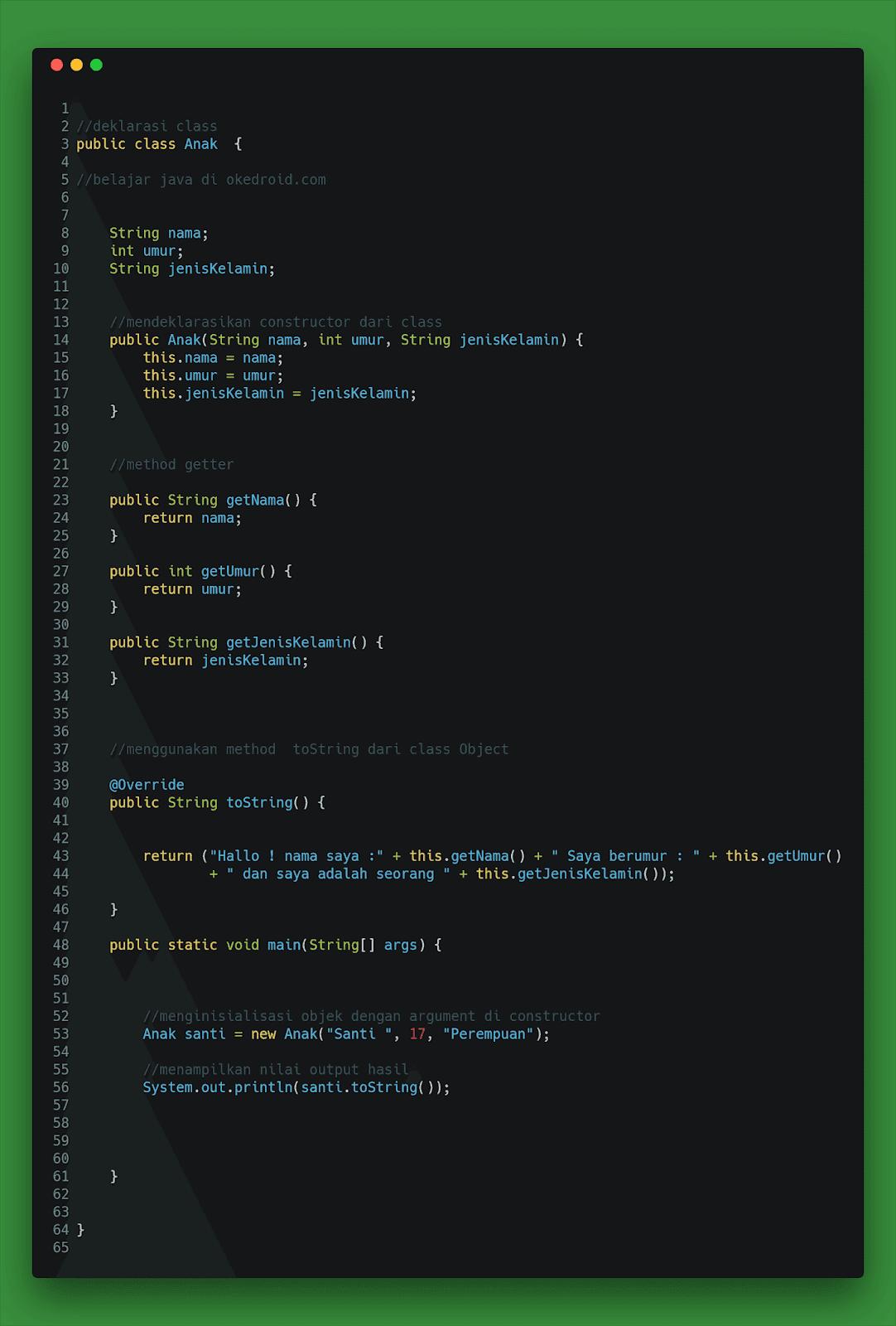 Contoh Code membuat dan memanggil mendeklarasikan menginisialisai objek class di java