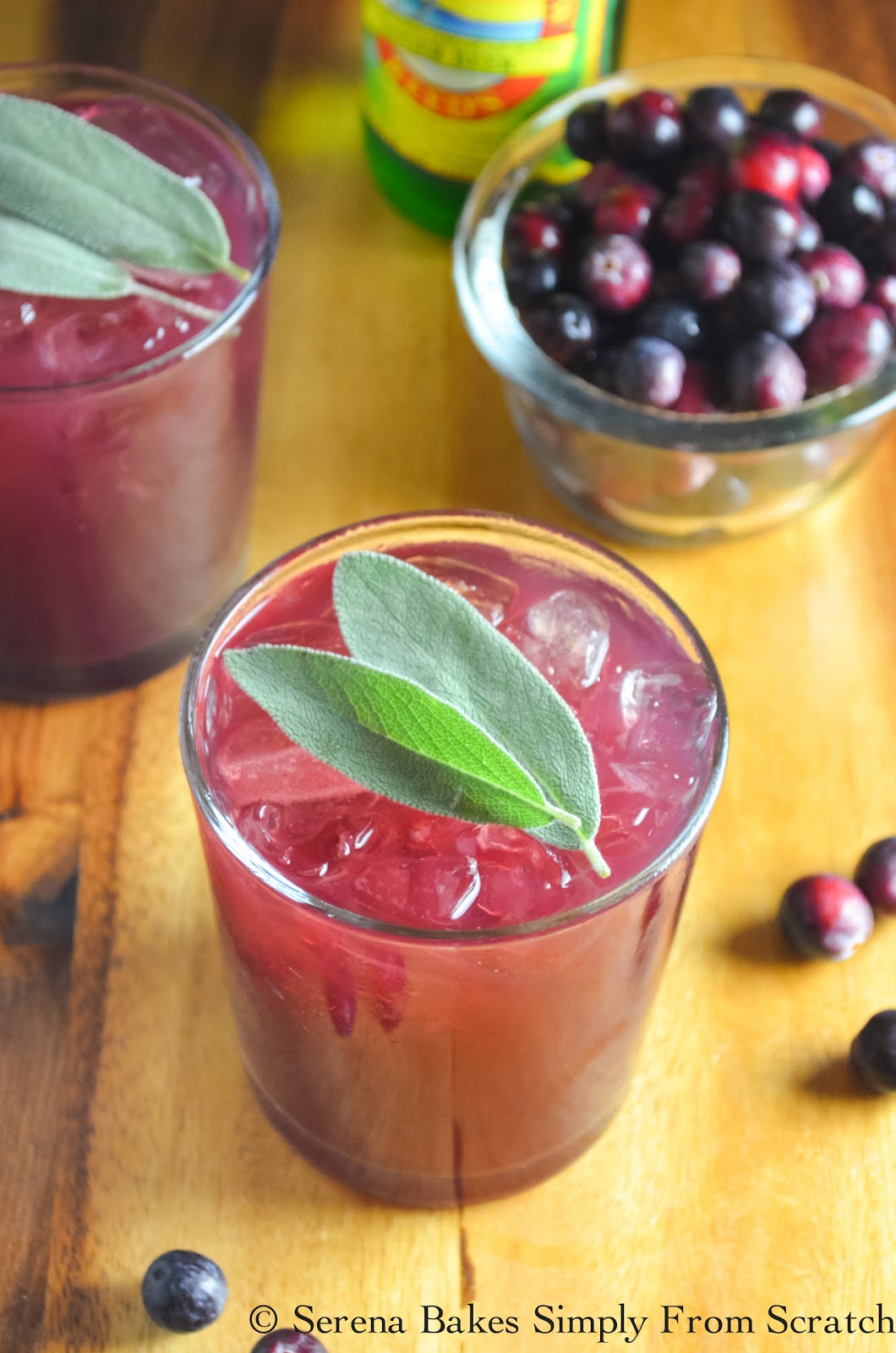 Cranberry Sage Moscow Mules are a fun festive cocktail for Thanksgiving and Christmas! serenabakessimplyfromscratch.com