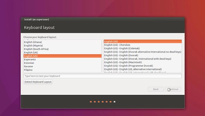 Select Keyboard Type | Installation of Ubuntu